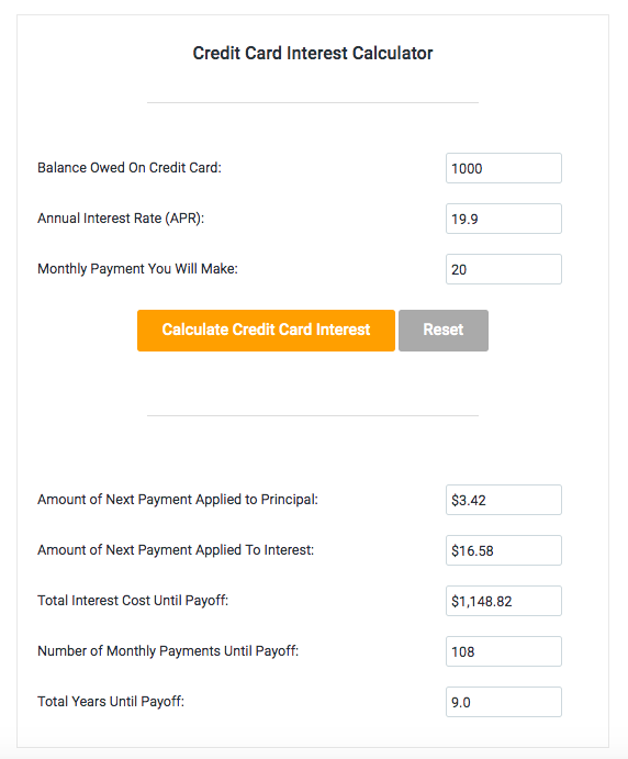credit card compound interest calculator